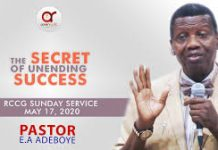 THE SECRET OF UNENDING SUCCESS Mp3 17TH MAY, 2020 - PASTOR E.A ADEBOYE